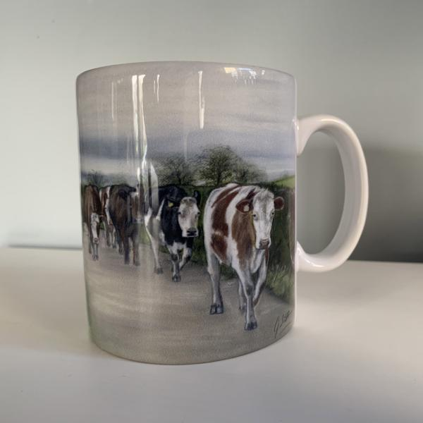 Herd Of Cows Walking Road Mug