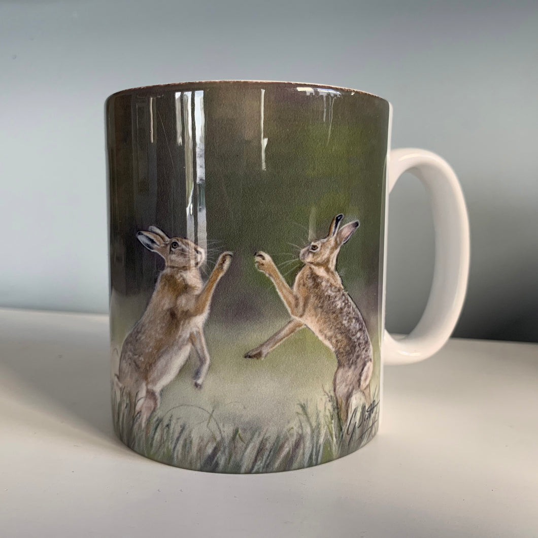 Boxing Hares Hunting Themed Mug