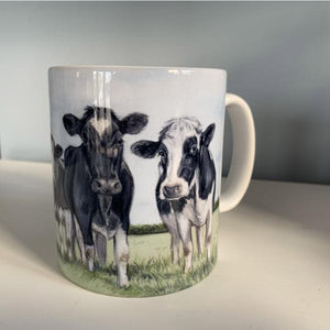 Herd Of Friesian Cows WIth Sky Background Farming Themed Mug