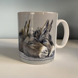 Two Donkeys Over Gate Mug