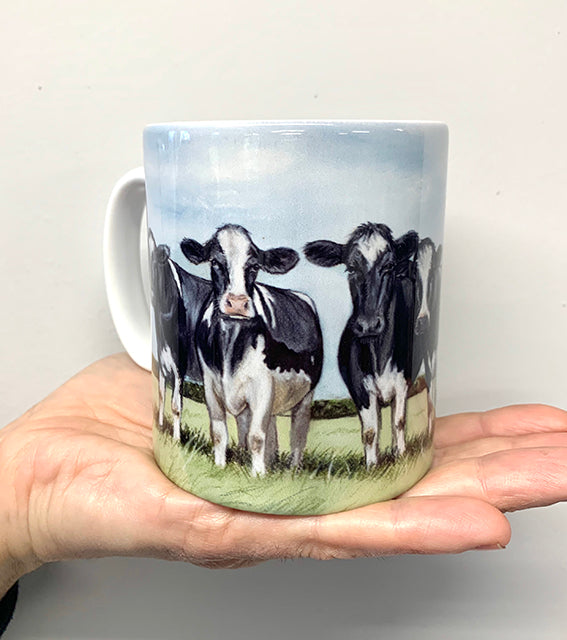 Friesian Cows With Sky Background Mug