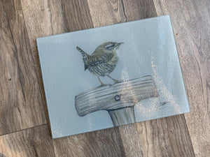 Wren On Spad Garden Bird Glass Worktop Saver
