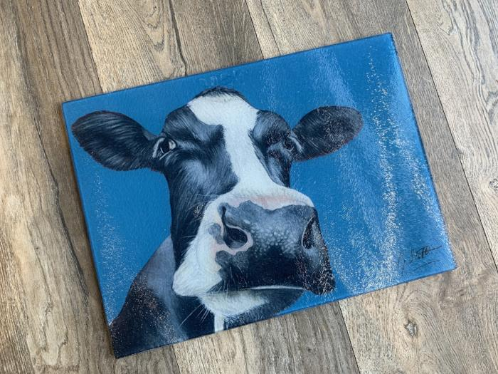 Friesian Cows Head With Blue Background Worktop Saver