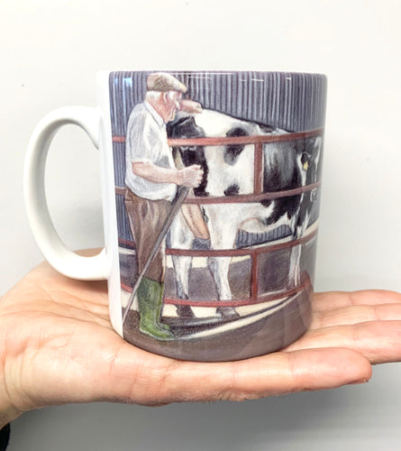 Farmer With Friesian Cow Farming Scene Mug