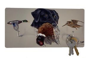 Black Labrador With Pheasant and Mallard Duck Key Holder