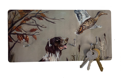 Spaniel With Pheasant Hunting Themed Key Holder