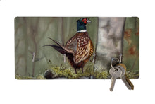 Pheasant On Stone Wall Hunting Themed Key Holder