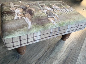 Hounds Hunting Themed Footstool