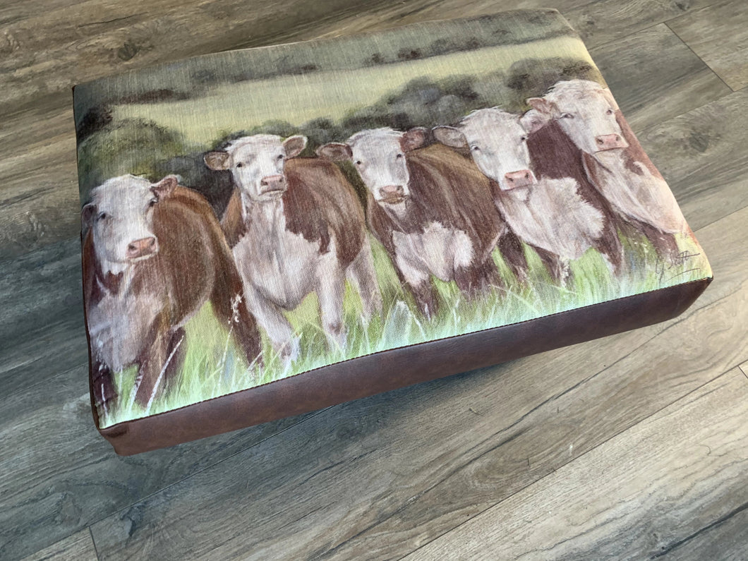 Herefords Farming Themed Footstool