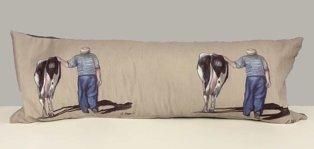 Farmer With Friesian Cow Farming Scene Lumbar Cushion