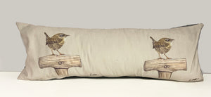 Wren On Spade Garden Birds Themed Lumbar Cushion