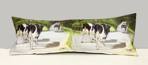 Friesian Cows Walkign Road Farming Themed Lumbar Cushion