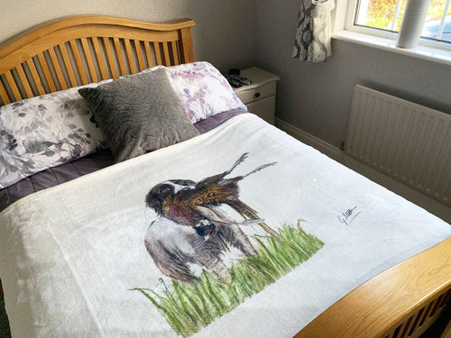 Spaniel With Pheasant Super Soft Blanket
