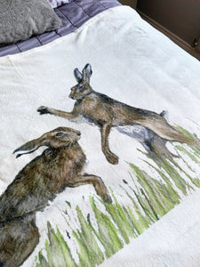 Boxing Hares Super Soft Blanket
