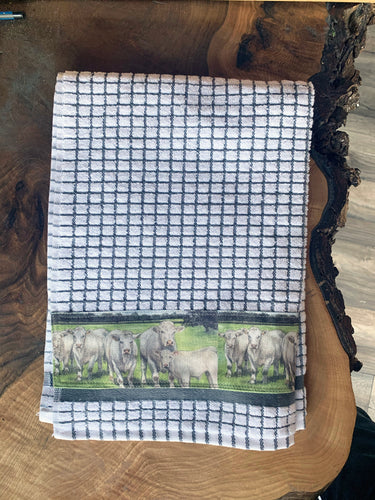 Charlois Cattle Farming Themed Tea Towel