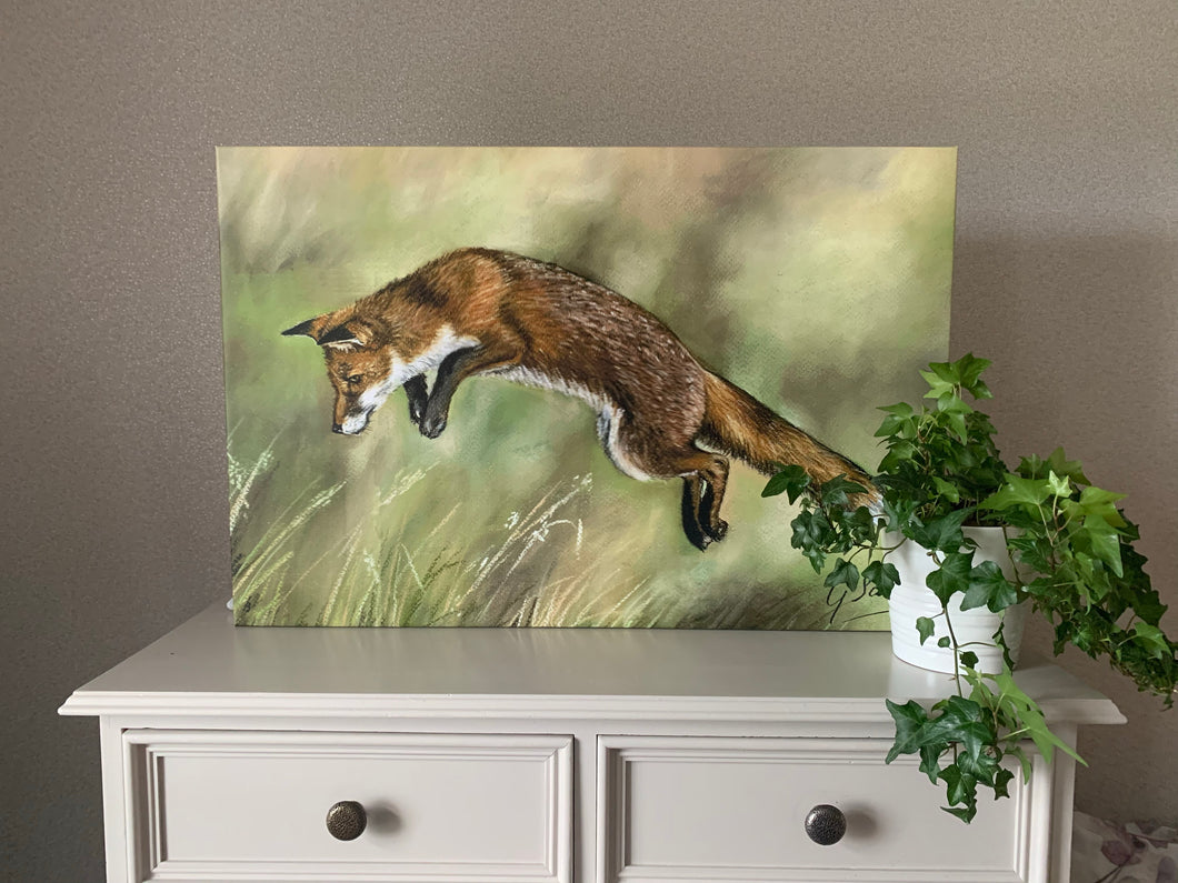Leaping Fox Oblong Canvas Print