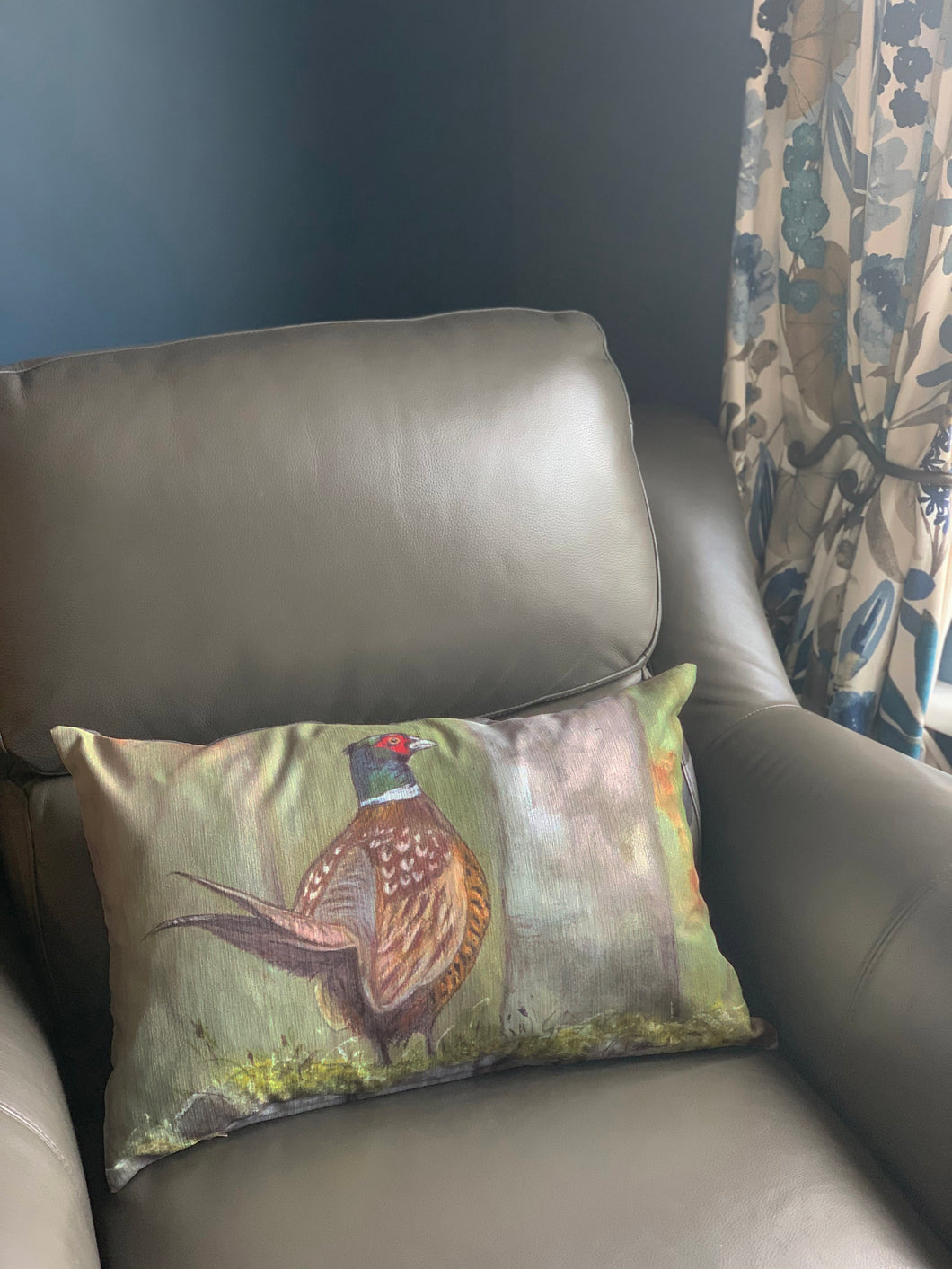 Pheasant On Wall Oblong Cushion