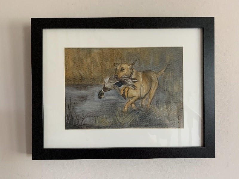 golden labrador hunting scene mallard duck original pastel painting by grace scott