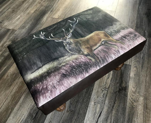 Stag Amongst Heather Footstool