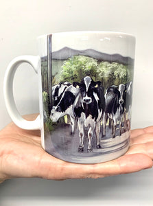 Friesian Cows Walking Road Mug