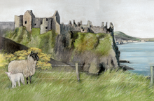 Dunclase castle original painting by artist Grace Scott