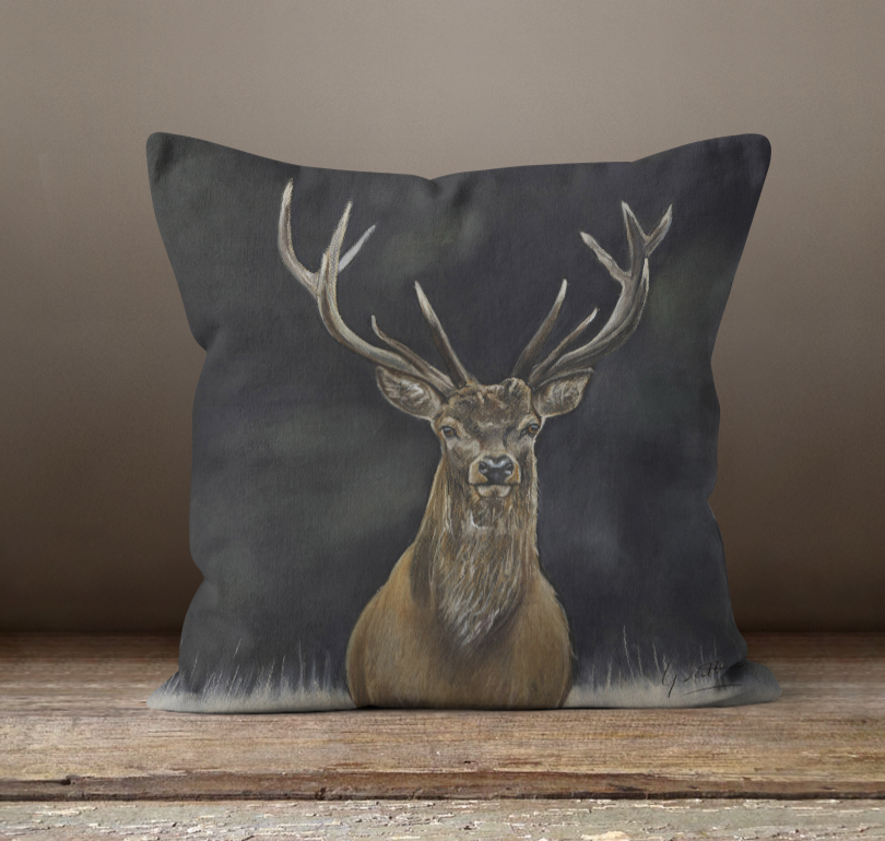 Stag's Head Square Cushion