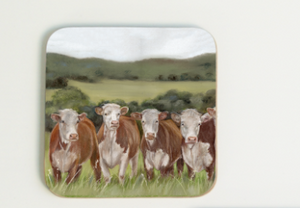 Row Of Hereford Cows Coaster