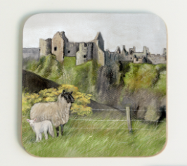 Dunluce Castle Coaster Gift By Grace Scott Pastel Artist