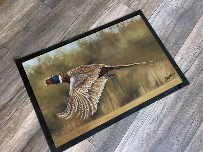 pheasant flying countrysports themed mat by grace scott