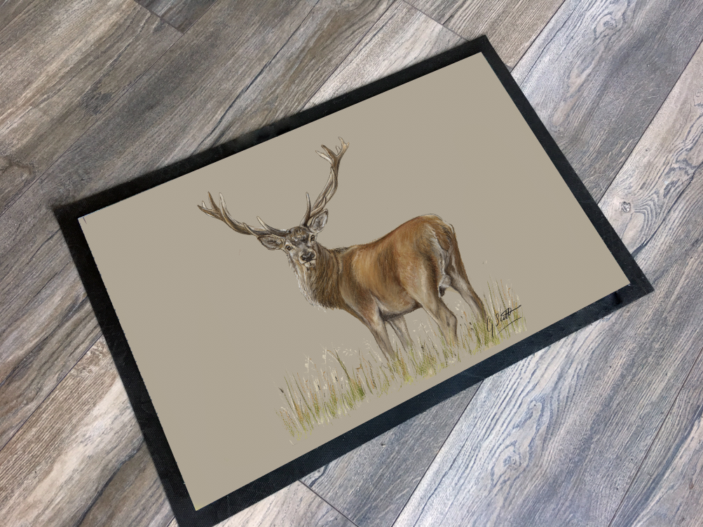 Stag Through Grass Hunting Themed Mat