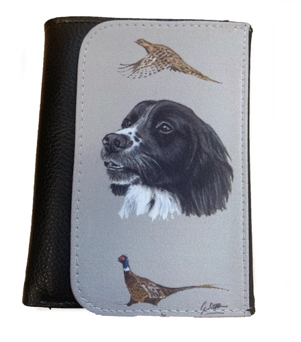 black spaniel with pheasants countrysports wallet gift men