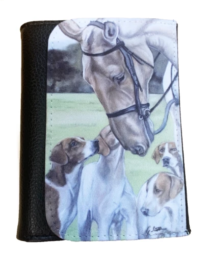 Horse and hounds mens wallet gift hunting countrysports themed grace scott pastel artist painting