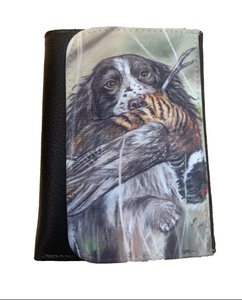 spaniel with pheasant wallet countrysports themed grace scott