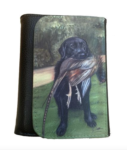 black labrador with pheasant country sports themed