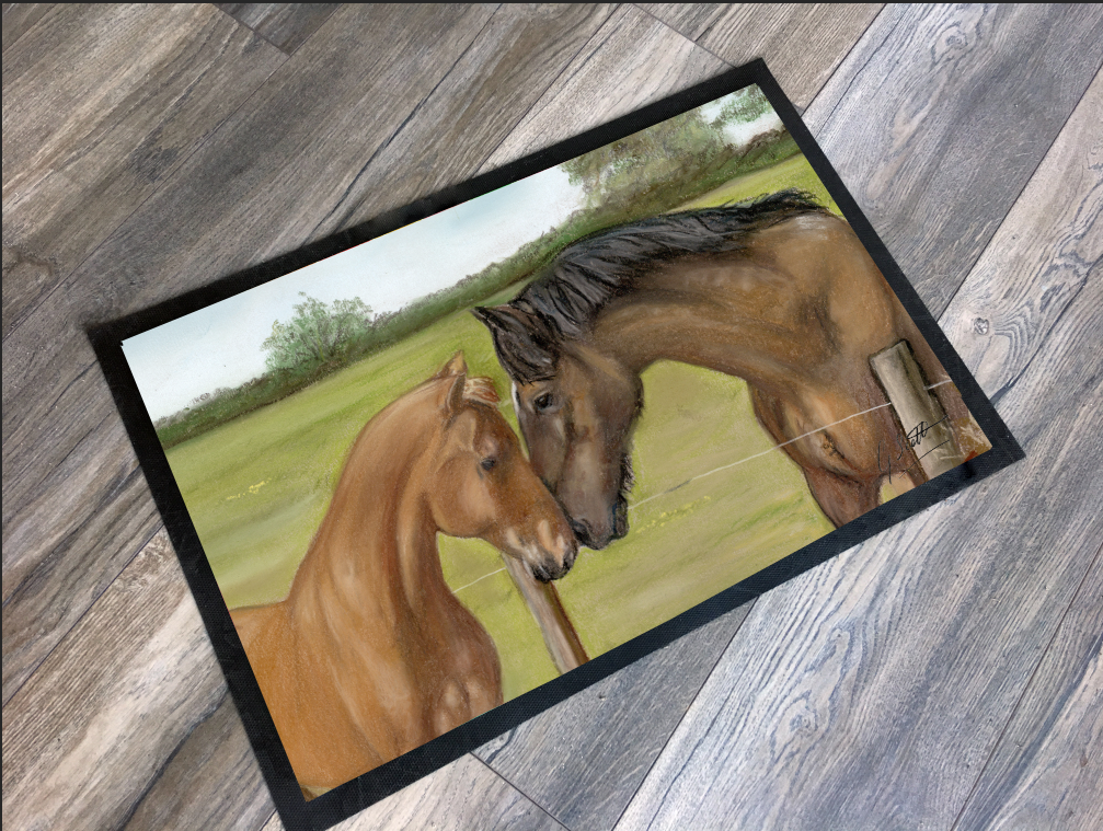 Horse and foal floor mat grace scott