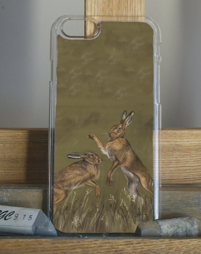 Boxing Hares Phone Case