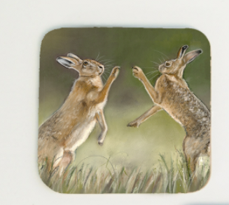 Boxing Hares Coaster