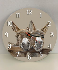 Donkeys over gate clock