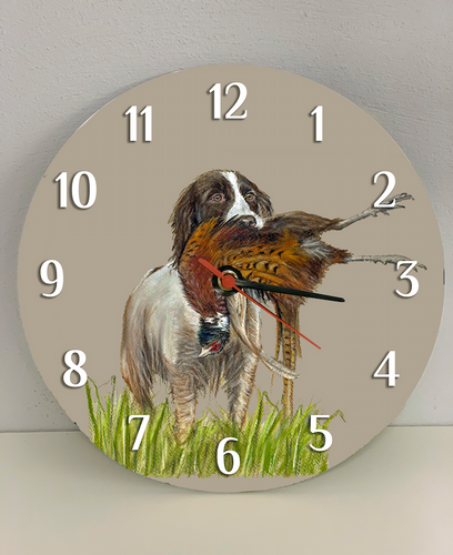 Spaniel With Pheasant Hunting Themed Clock