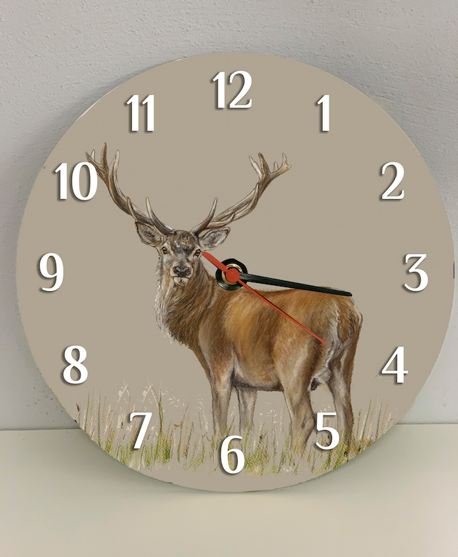 Stag Through Grass Clock