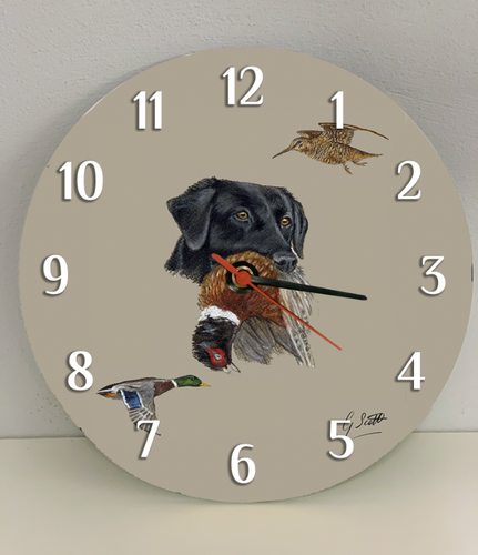 Black Labrador Clock
