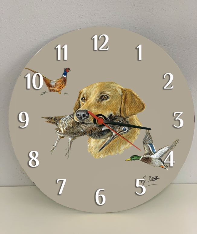 Golden Labrador Hunting Themed Clock