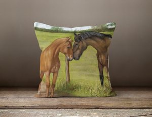 Horse and Foal Square Cushion