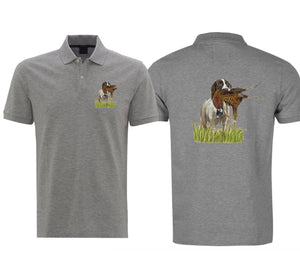 Spaniel With Pheasant Mens Polo Shirt