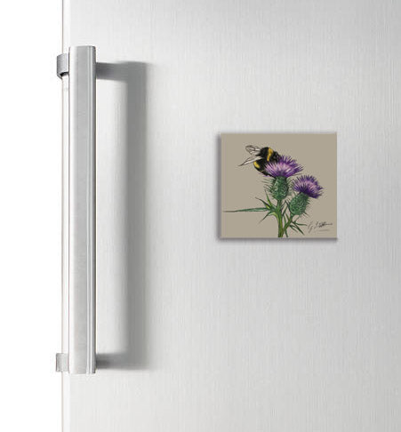 Bee On Thistle Garden Birds Square Magnet