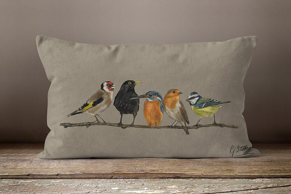 Row Of Garden Birds Oblong Cushion By Grace Scott