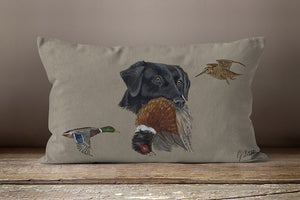 Black Lab With Pheasant And Mallard Duck Hunting Oblong Cushion