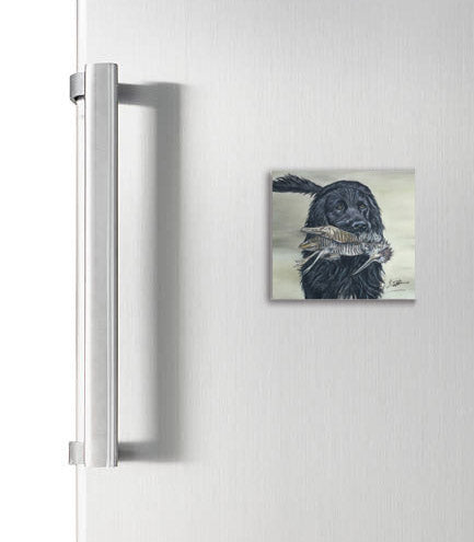 Black Spaniel With Woodcock Square Magnet