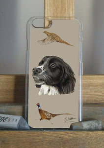 Black Spaniel with Pheasants Hunting Themed Phone Case