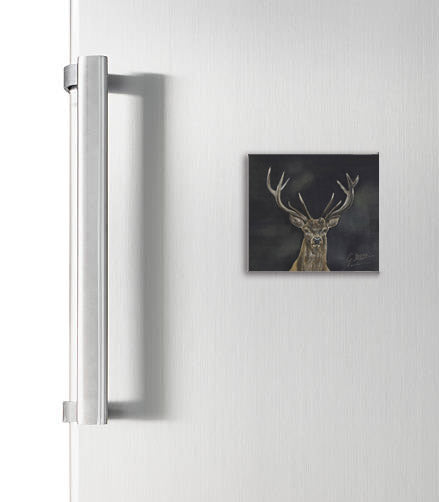 Stag With Dark Background Square Magnet